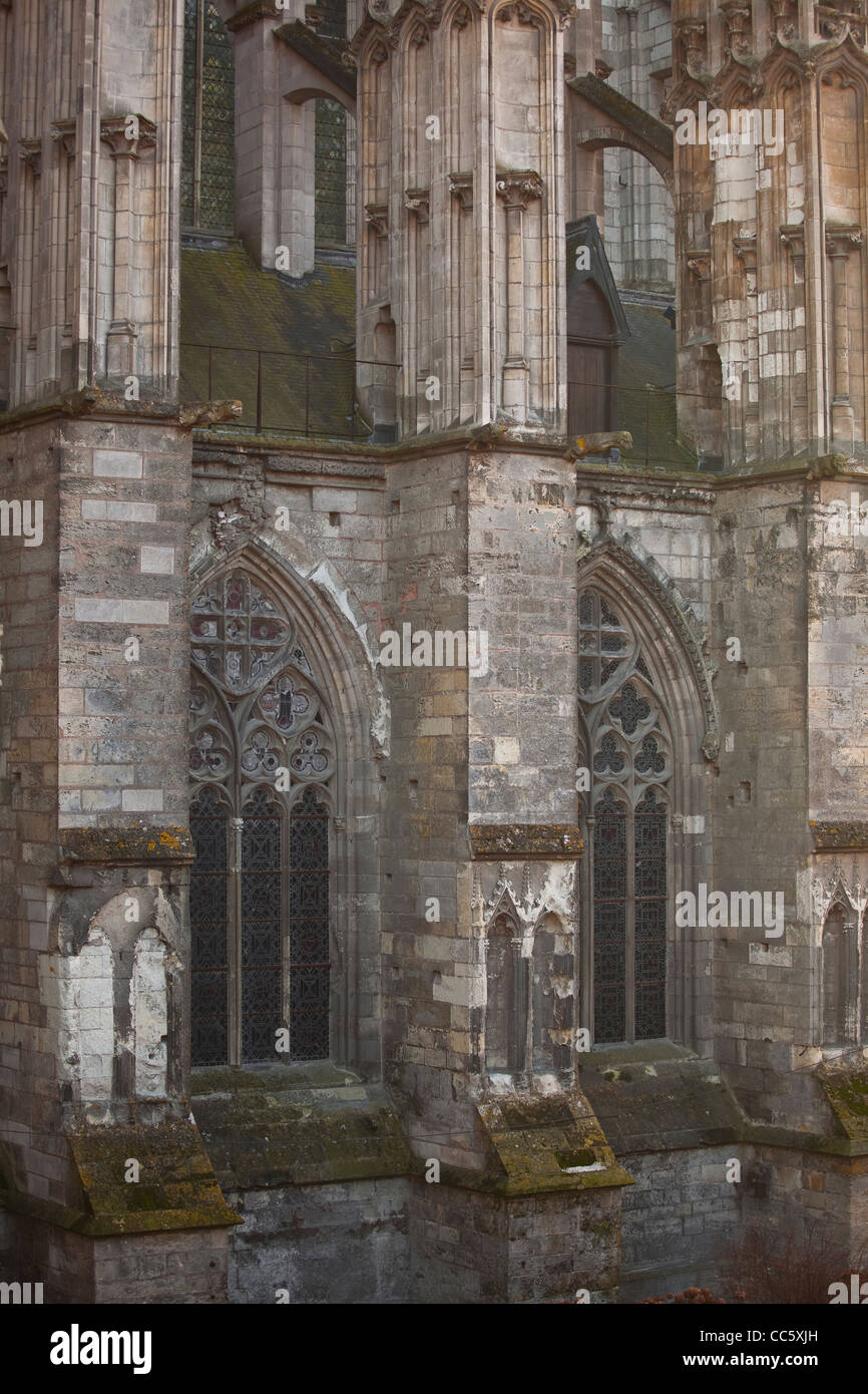 The side of St Gatien cathedral in Tours, France. The cathedral has been undergoing major restoration works in recent Stock Photo