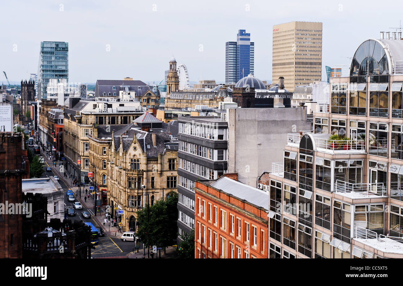 Manchester town centre as scene from the rooftops - Stock Image