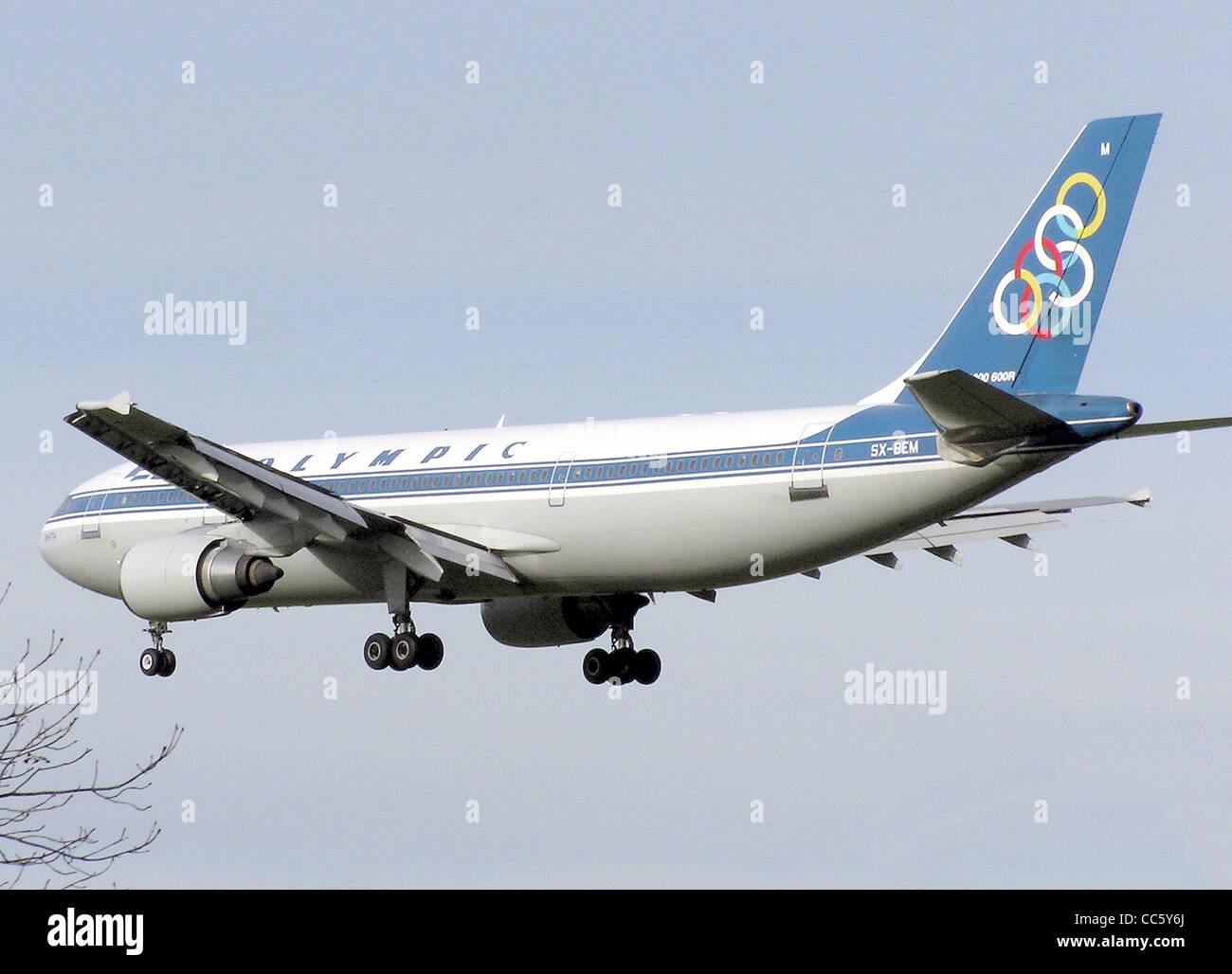 Olympic Airlines Airbus A300B4-600R landing at London Heathrow Airport, England. - Stock Image
