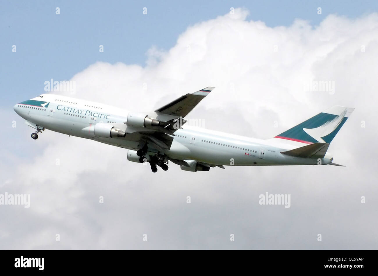 Cathay Pacific Boeing 747-400 (B-HKF) landing at London Heathrow Airport, England. Stock Photo