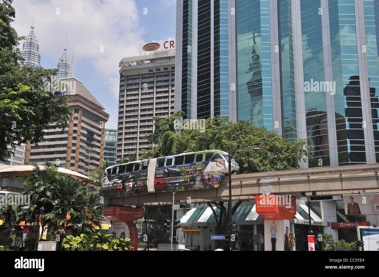street scene KL Monorail Kuala Lumpur Malaysia - Stock Image