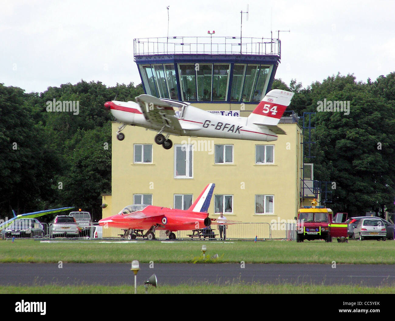 Kemble Airfield control tower, Gloucestershire, England - Stock Image