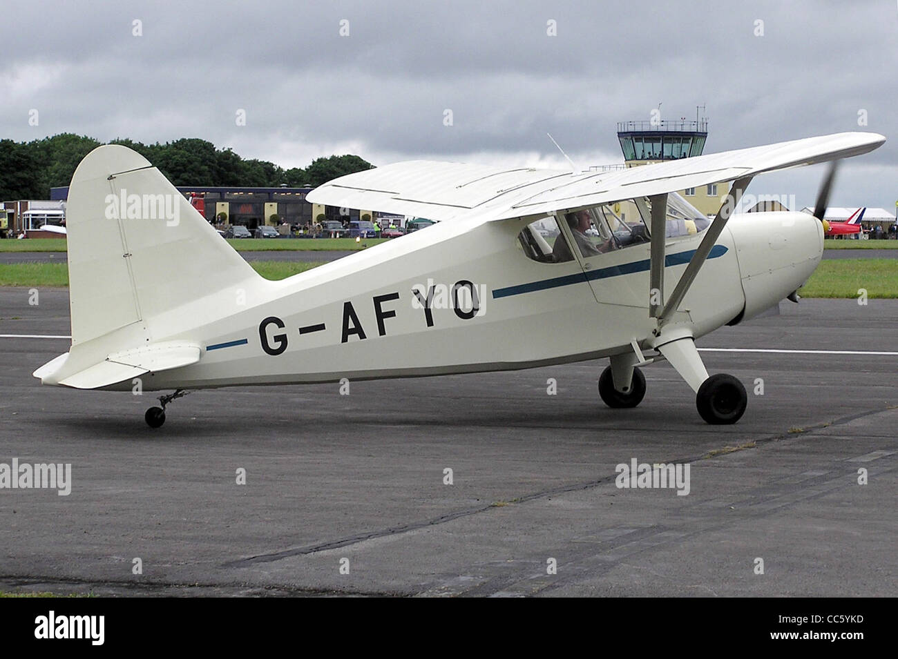 Stinson HW-75 (also called the 105), with UK registration G-AFYO, at Kemble Airfield, Gloucestershire, England. - Stock Image