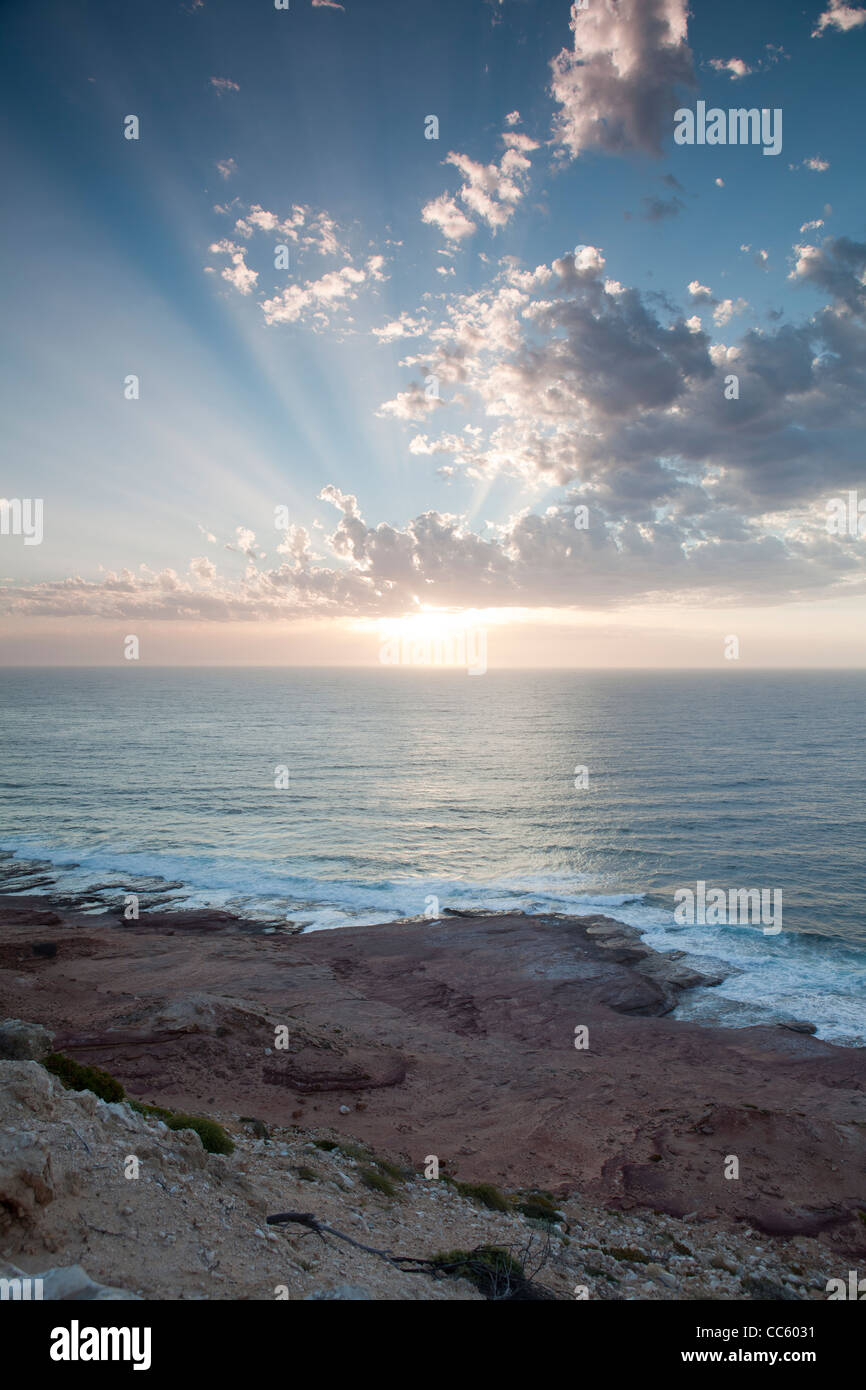 A view of the stunning sunset at Red Bluff Beach, Kalbarri, Western Australia - Stock Image