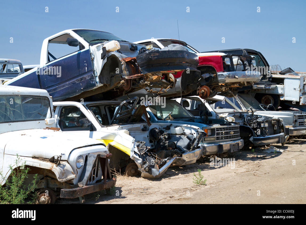 Automobile wrecking yard near Caldwell, Idaho, USA. - Stock Image