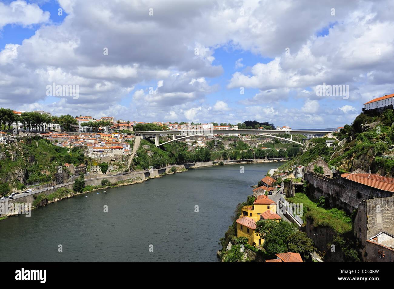 View of Porto from bridge de Luis I (Portugal) - Stock Image