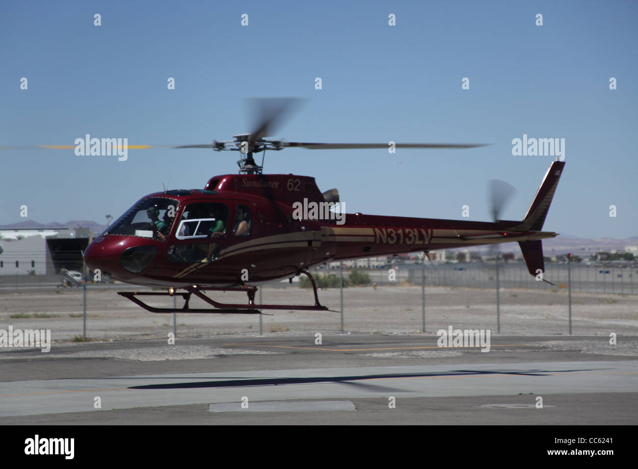 A-Star Helicopter Landing in Las vagas - Stock Image