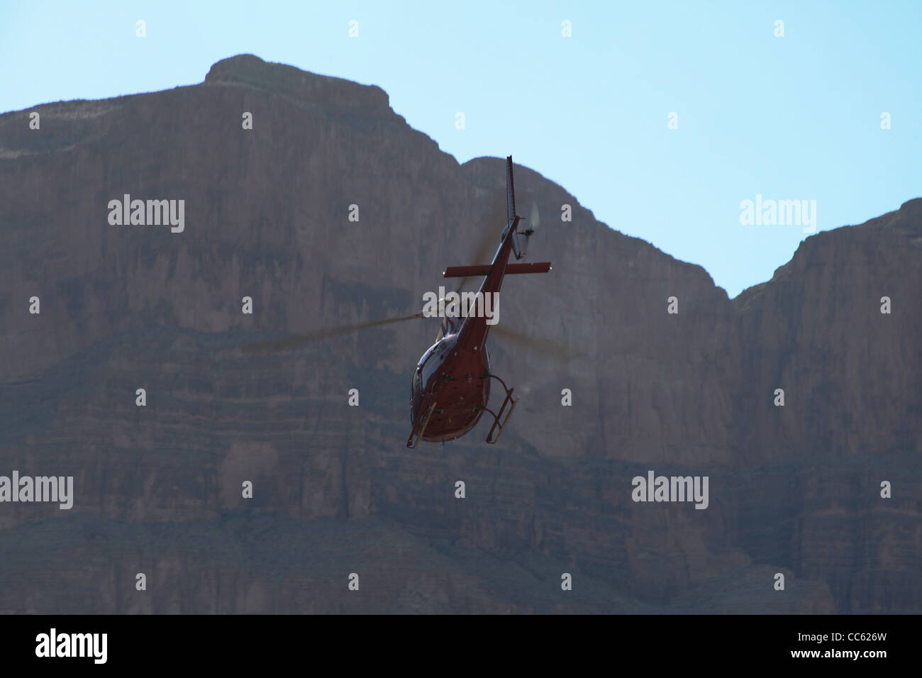 A helicopter in the grand canyon - Stock Image