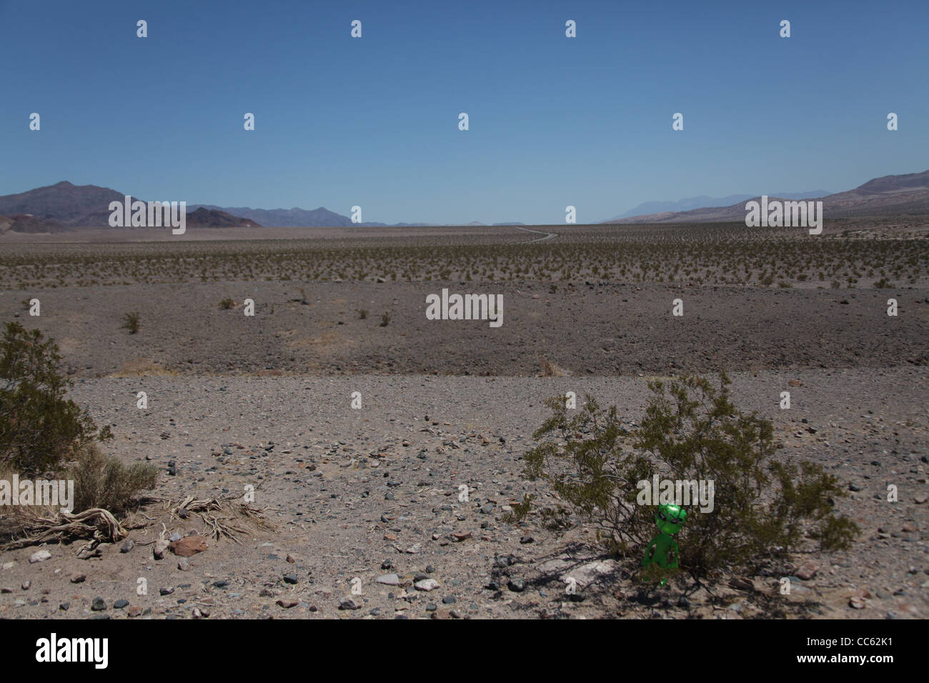 The valley floor of death valley with a small alien hiding in the bush - Stock Image