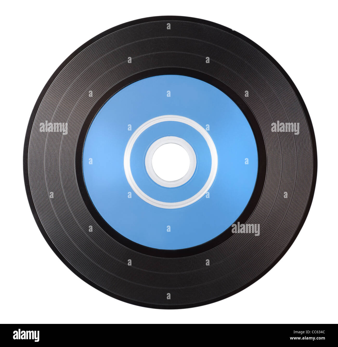 Old vinyl record with blue blank label isolated on white background - Stock Image