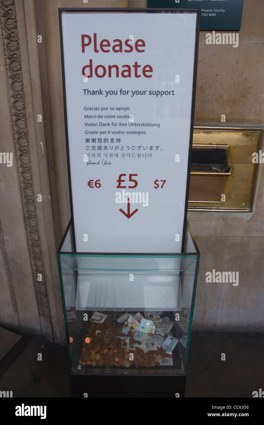 Donation box British Museum in Bloomsbury district central London England UK Europe - Stock Image