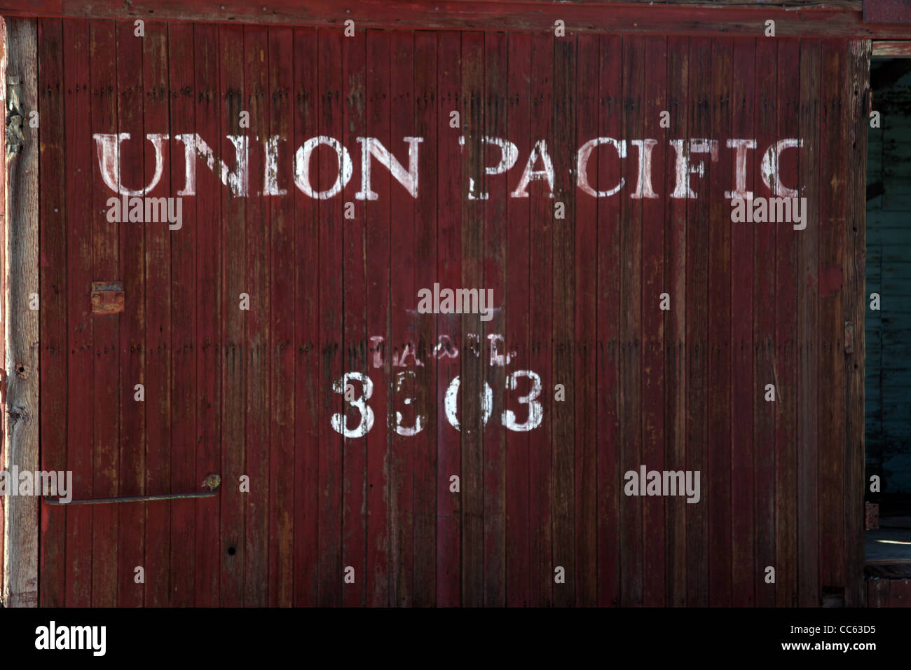 An abandon rail car from the union Pacific - Stock Image