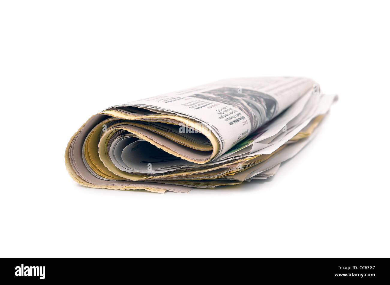 newspaper on a white background - Stock Image