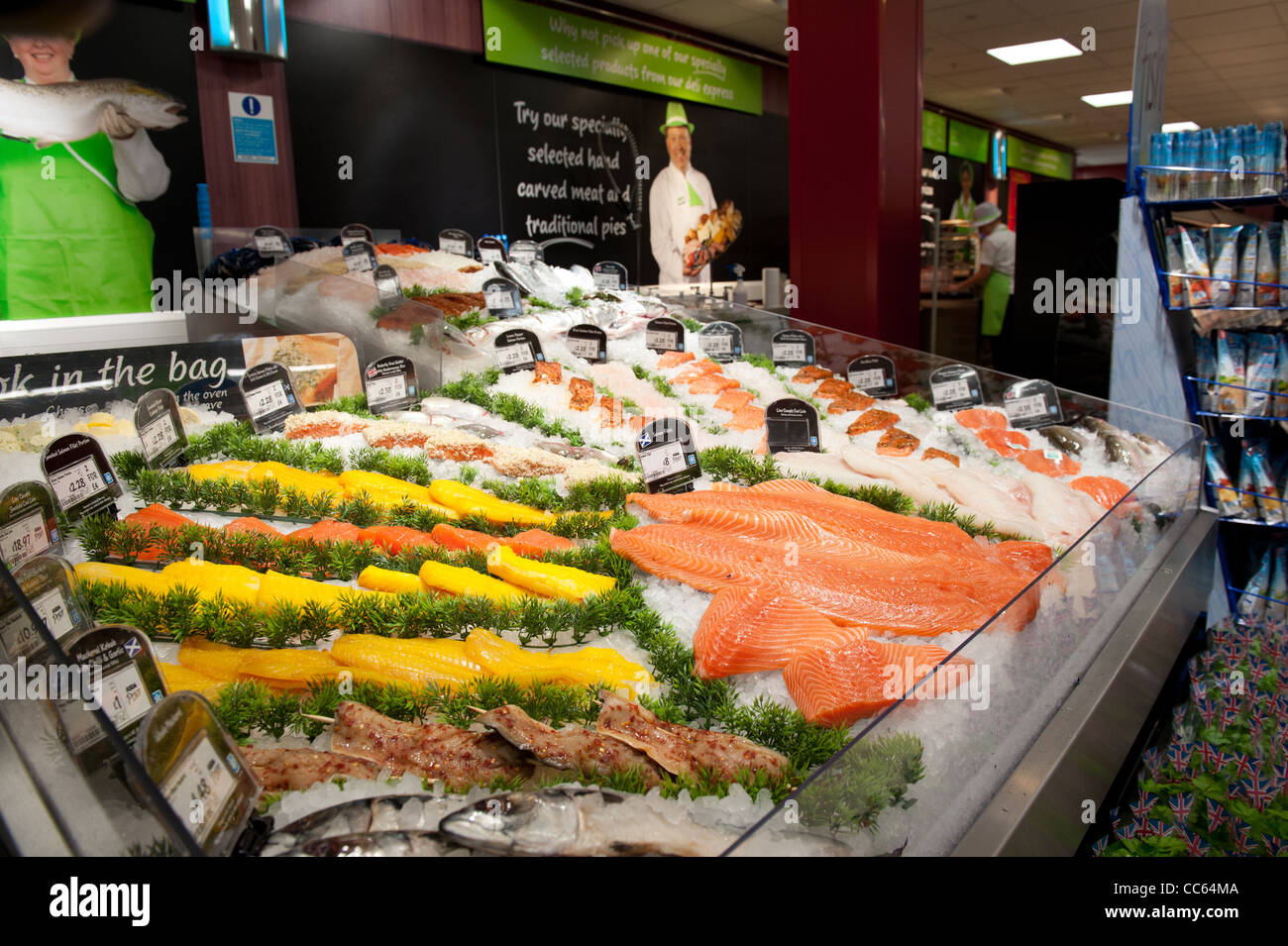 Fish counter display in scottish supermarket stock photo for Fish stores in ma