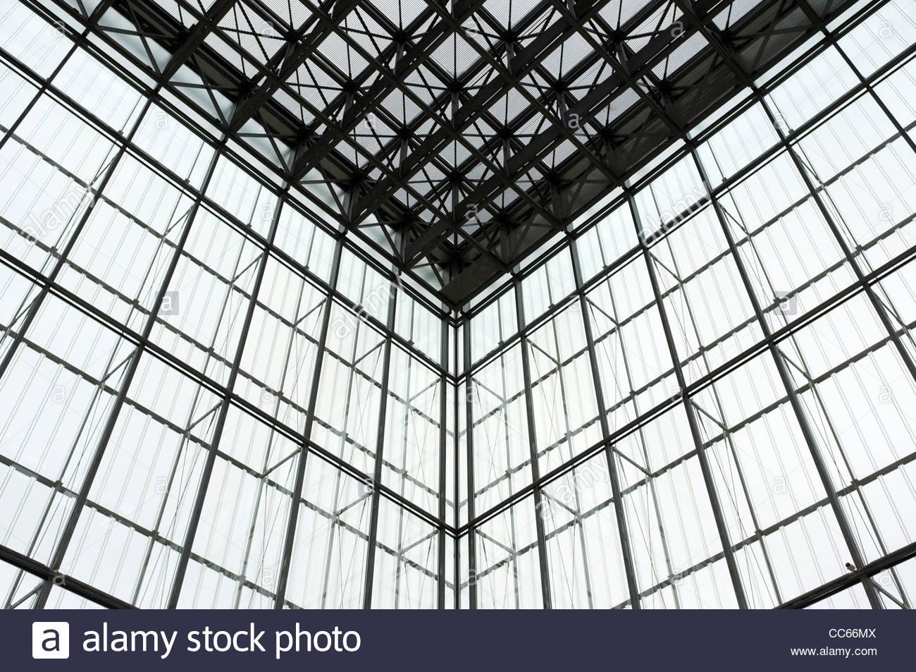 Glass walls architecture at Museum der bildenden Kunste, Leipzig, Saxony, Germany - Stock Image