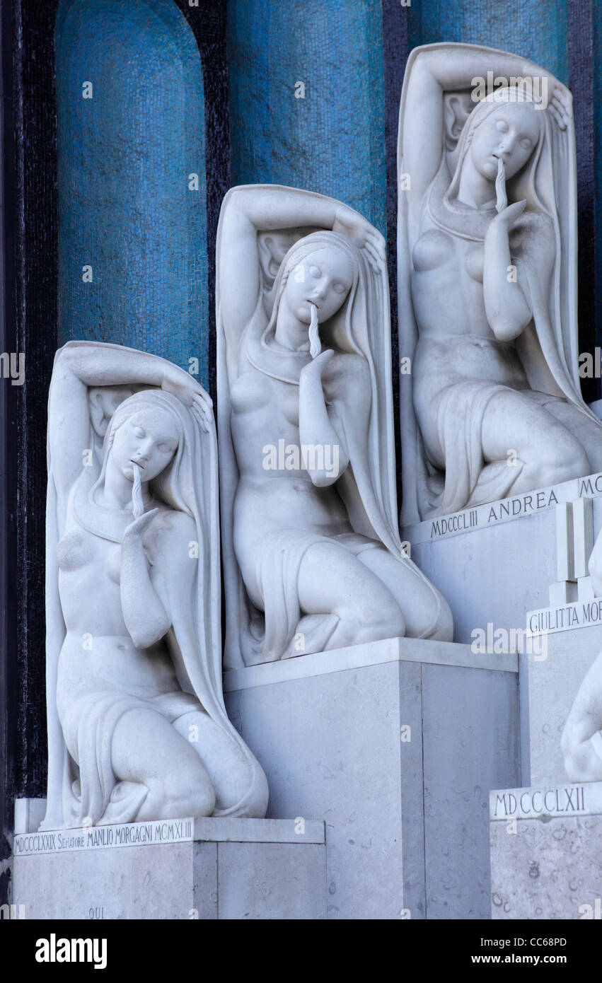 Statue at the Monumental Cemetery, Milan, Italy - Stock Image