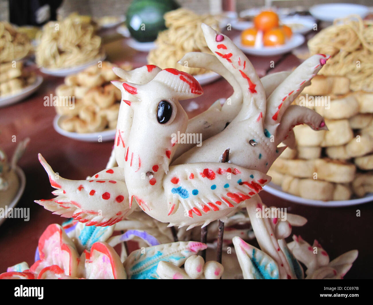 Dough models of fish, Linfen, Shanxi , China - Stock Image
