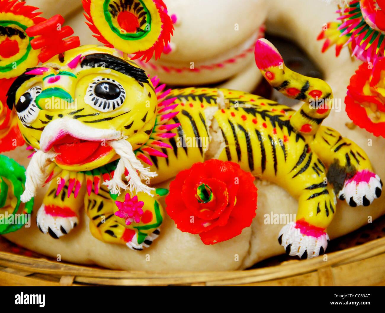 Dough models of tiger, Linfen, Shanxi , China - Stock Image