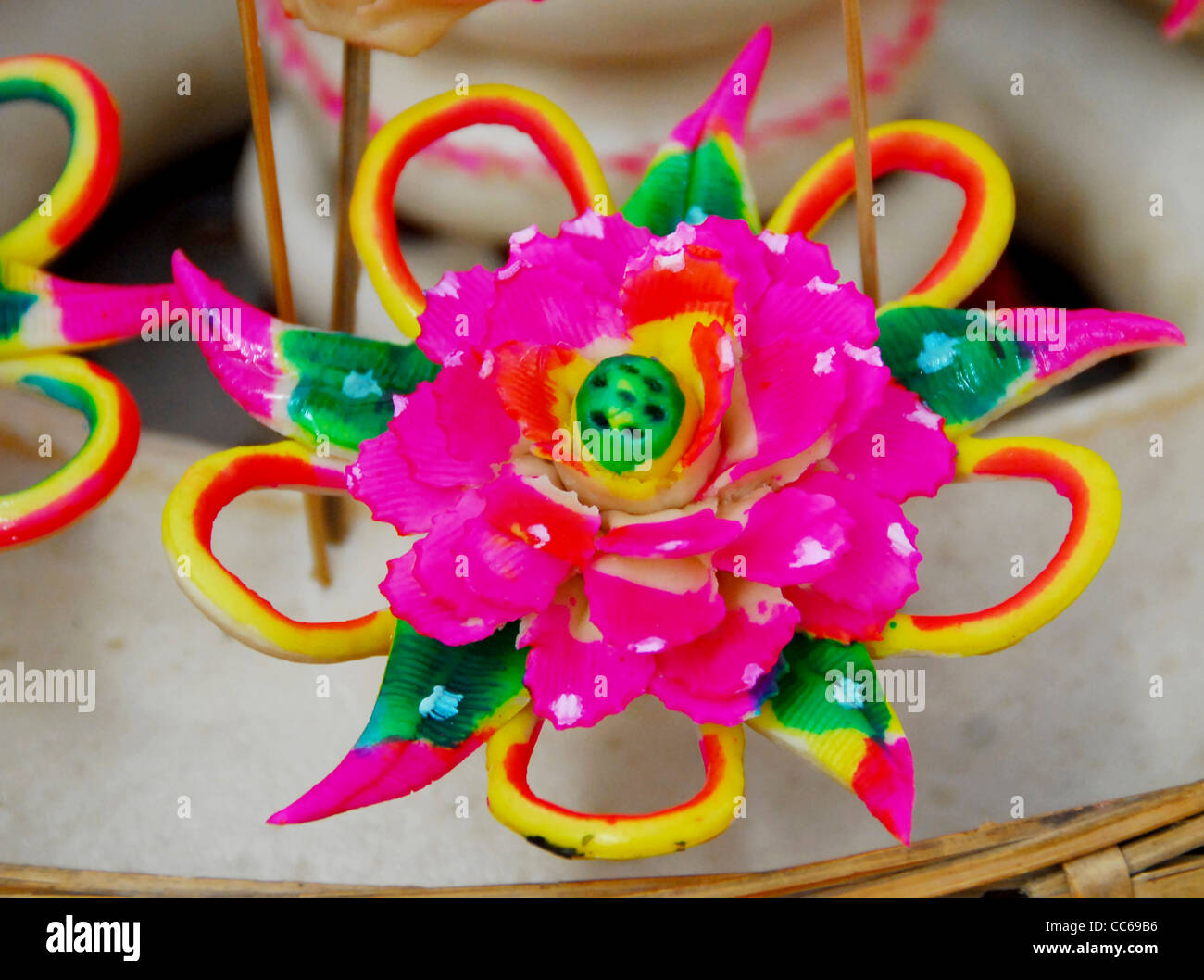 Dough models of flower, Linfen, Shanxi , China - Stock Image
