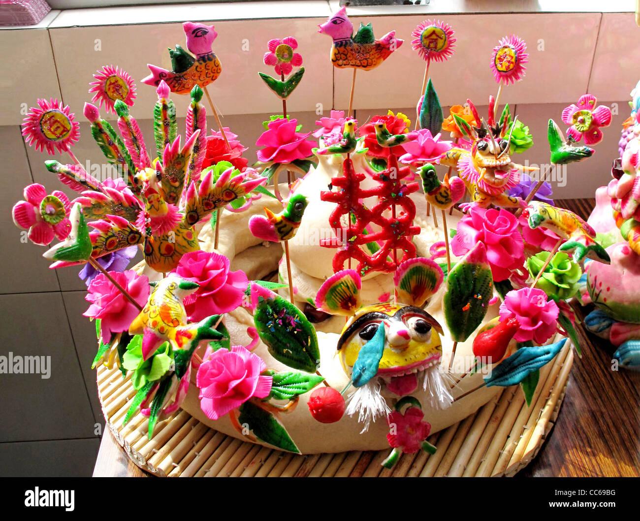 Dough models, Linfen, Shanxi , China - Stock Image