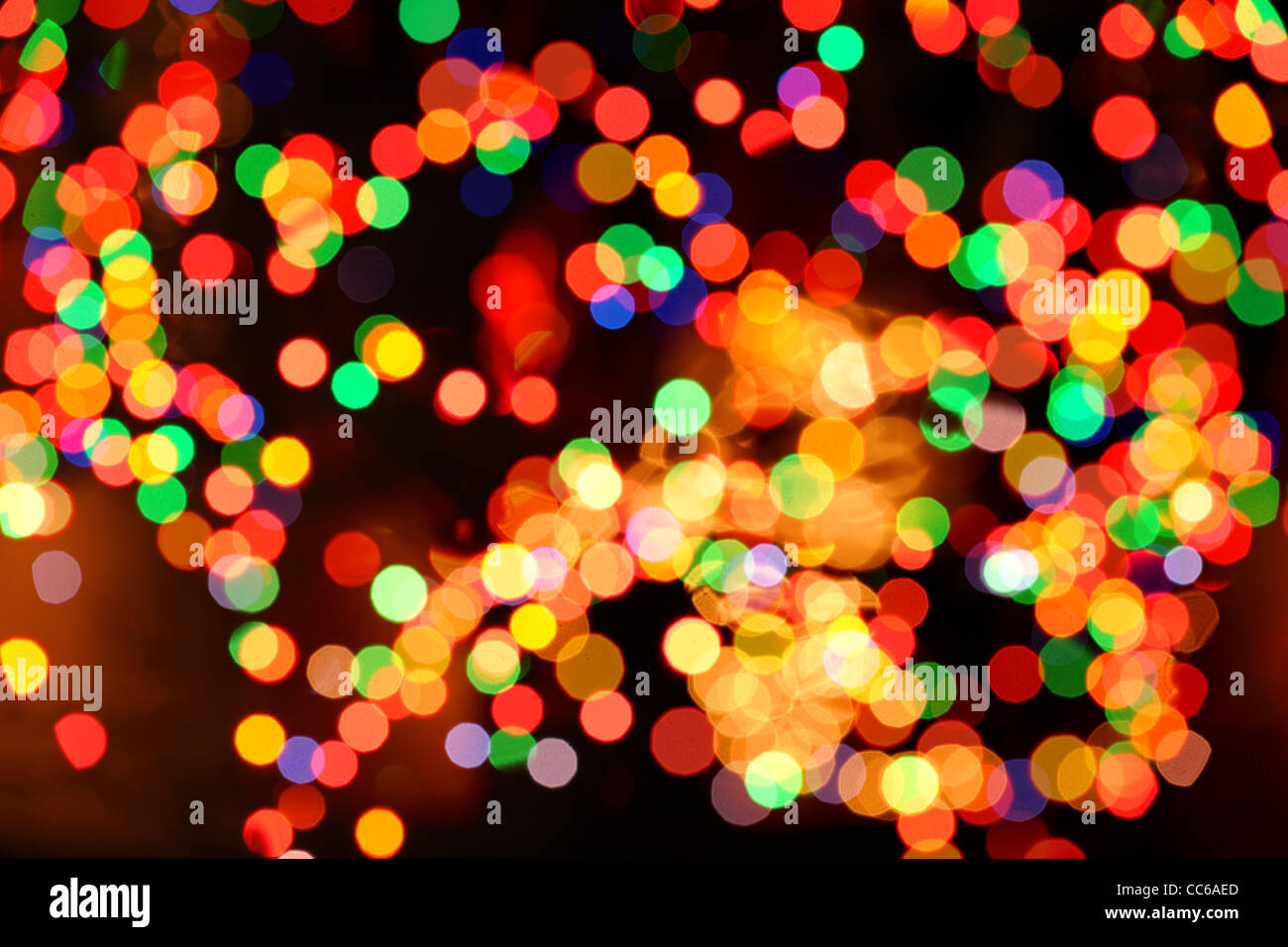 Christmas lights out of focus as a background - Stock Image