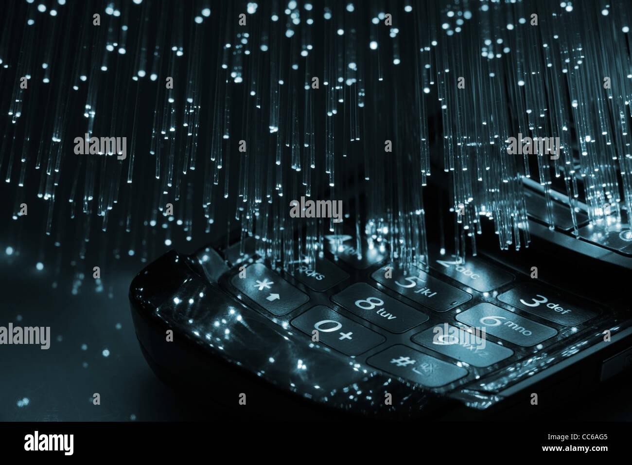 Fiber optics background with lots of blue light spots - Stock Image