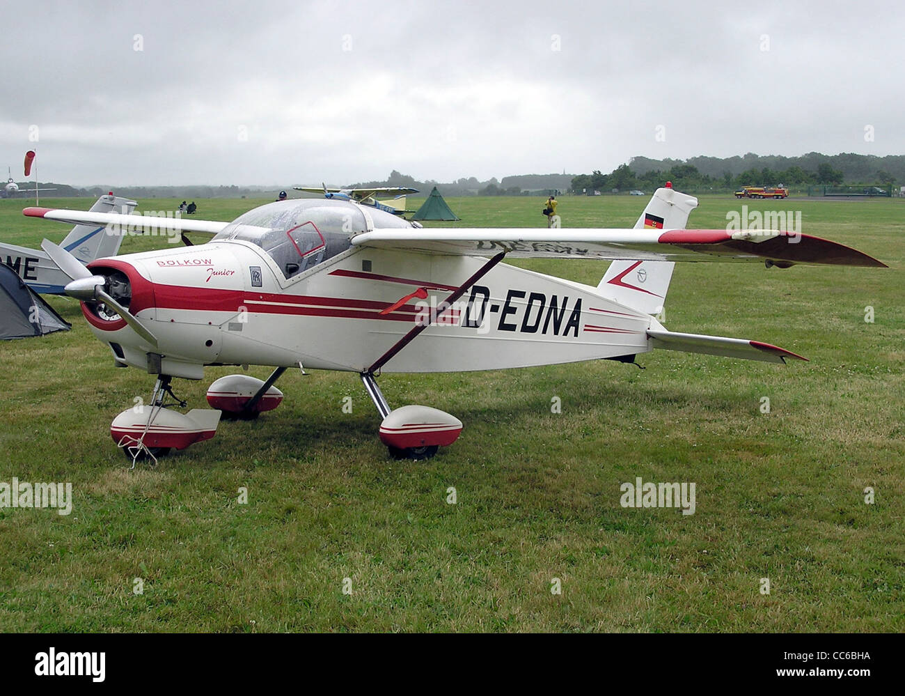 Bolkow BO.208C Junior (German registration D-EDNA) at Kemble Airfield, Gloucestershire, England. - Stock Image