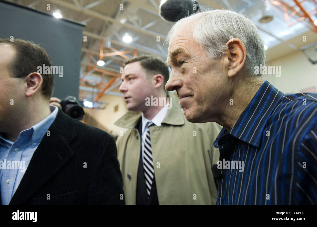 Republican presidential nominee candidate Ron Paul at campaign event in West Des Moines, Iowa - Stock Image
