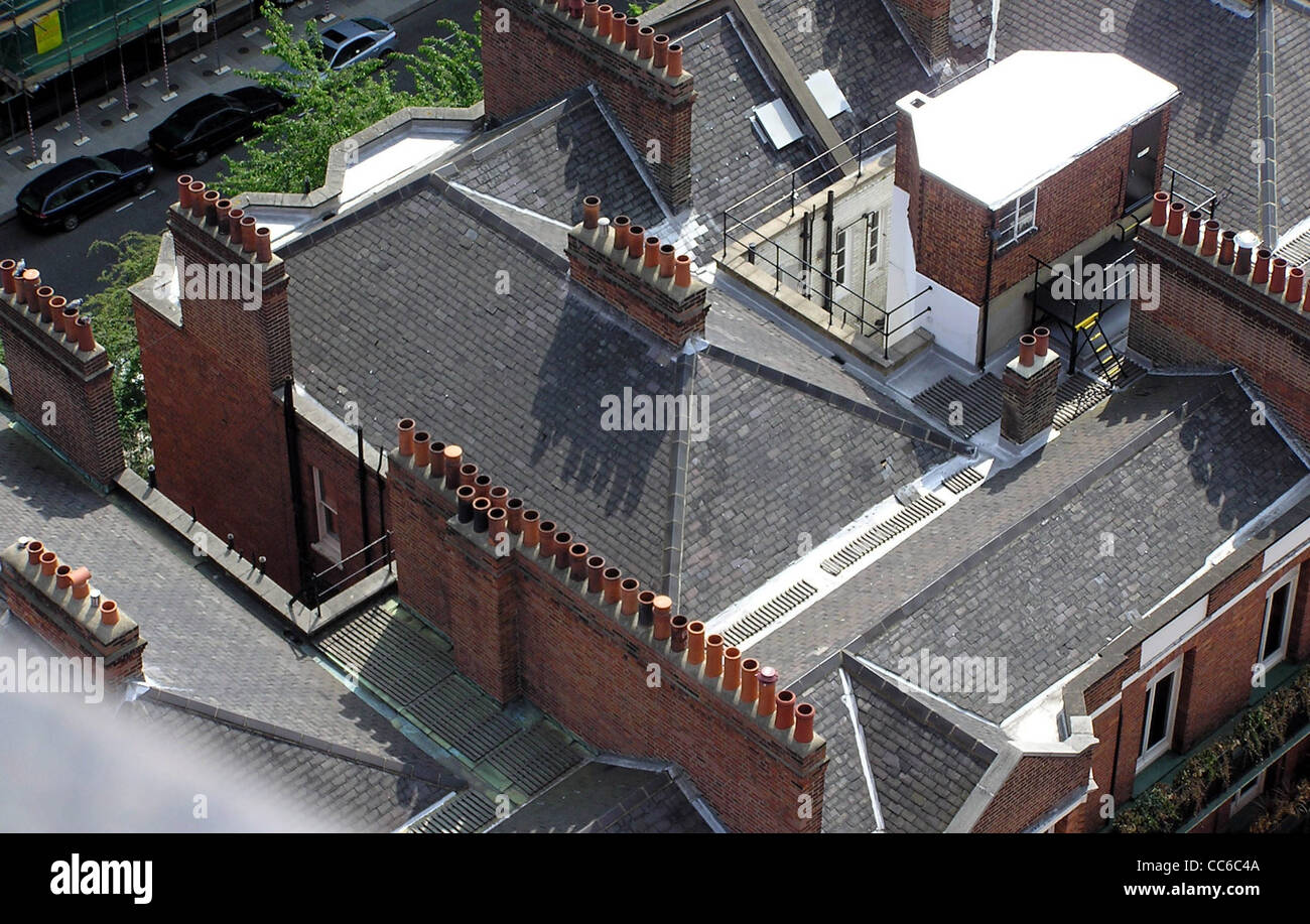 Chimney pots in London, England, seen from the tower of Westminster Roman Catholic cathedral. - Stock Image