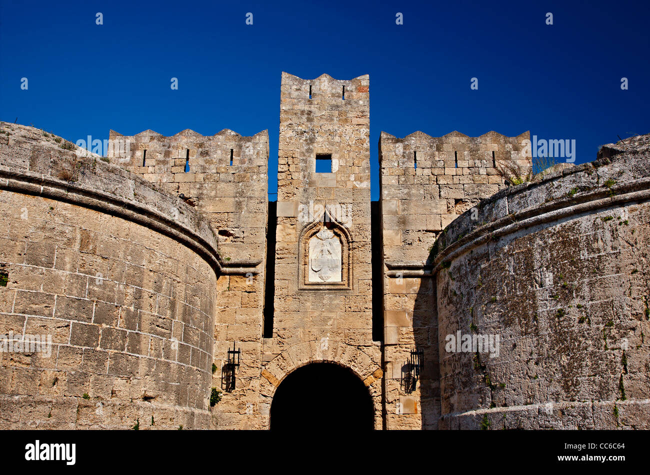 The gate d' Amboise , one of the main gates of the Medieval town of Rhodes island, Dodecanese, Greece - Stock Image