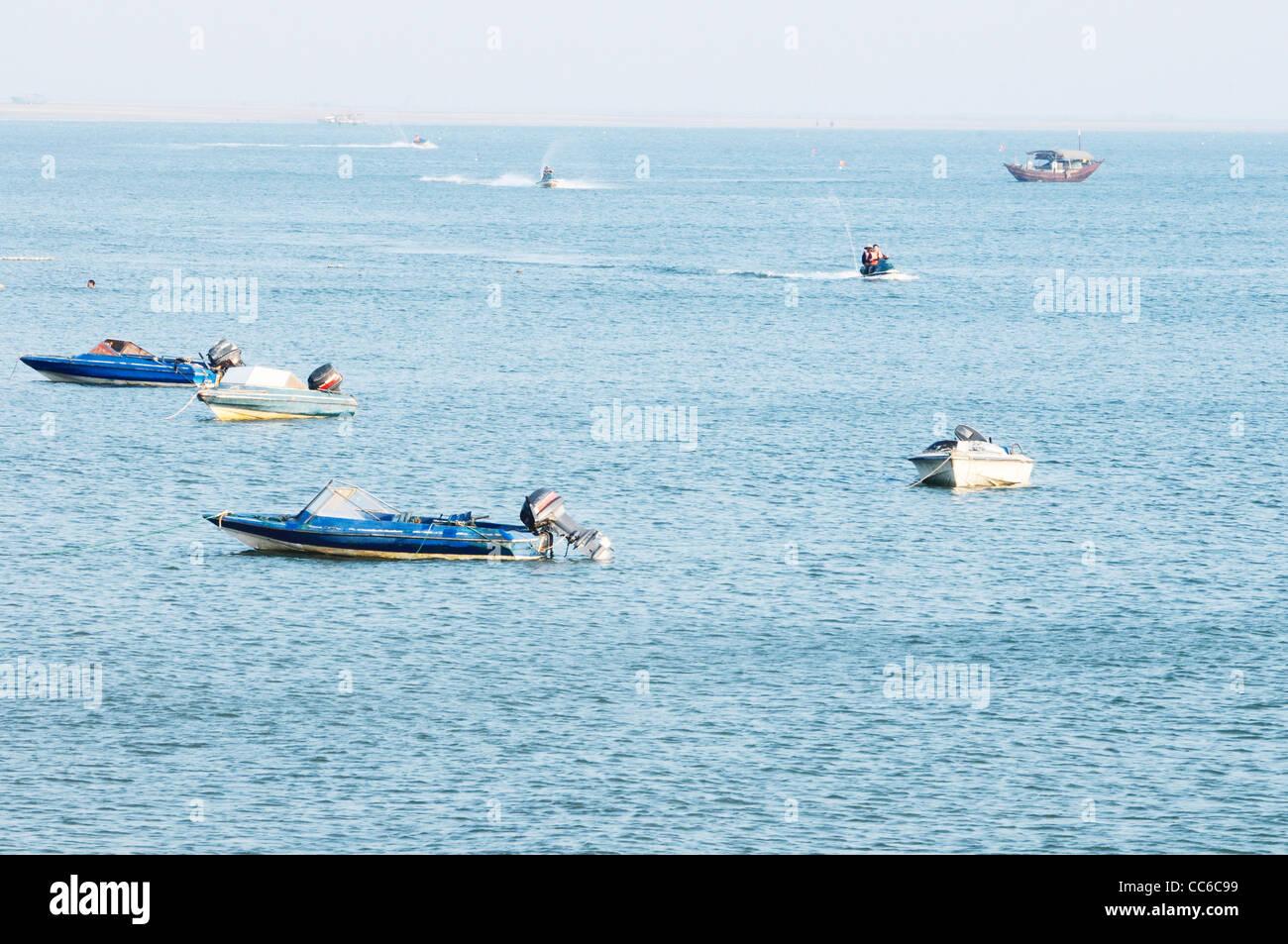 Yachts on the South China Sea, Beihai, Guangxi , China - Stock Image