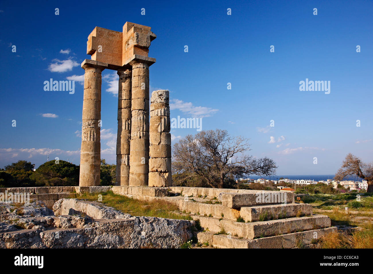 The temple of Pythion Apollo, on the hill of Monte Smith, where the Acropolis of ancient Rhodes is located, Dodecanese, - Stock Image