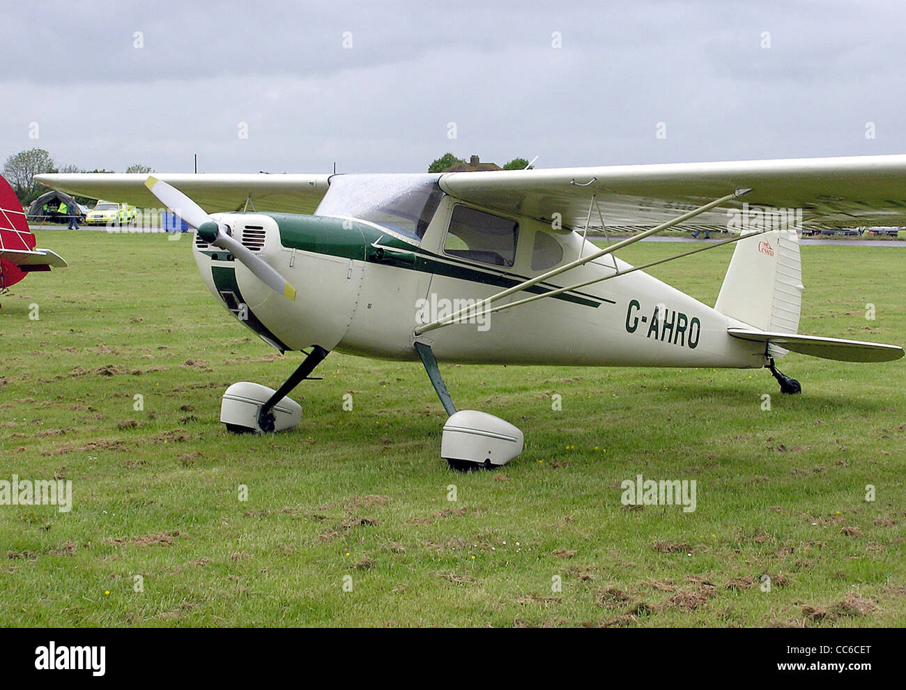 1946 Cessna 140 (G-AHRO) at Hullavington airfield, Wiltshire, England. - Stock Image
