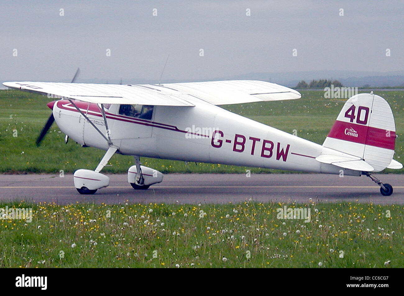 Cessna 120 (G-BTBW), built 1947, at Kemble airfield, Gloucestershire, England. - Stock Image