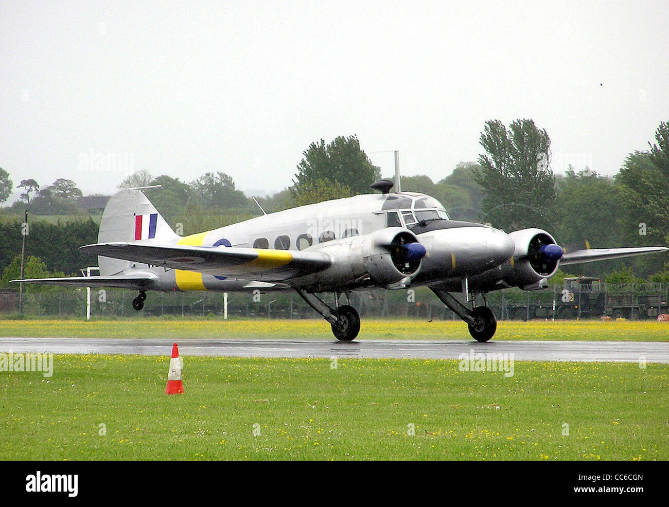 Avro 652a Anson T.21 (military designation WD413, private registration G-VROE) of the Air Atlantique Historic Flight - Stock Image