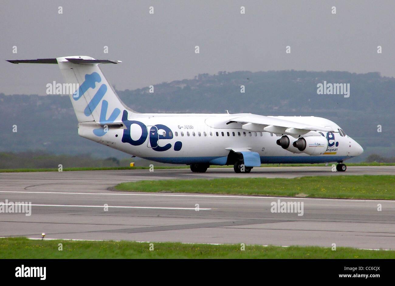 Flybe British Aerospace 146-300 (G-JEBD) at Bristol Airport, Bristol, England. - Stock Image