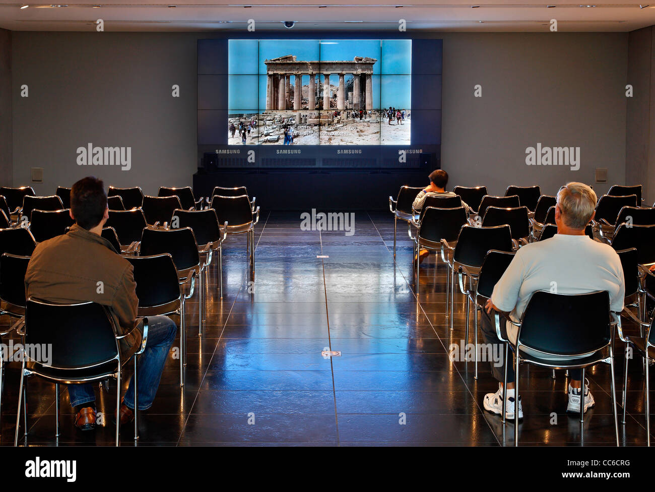 Projection of educational video about Parthenon in the Multimedia center of the Acropolis museum, Athens, Greece - Stock Image