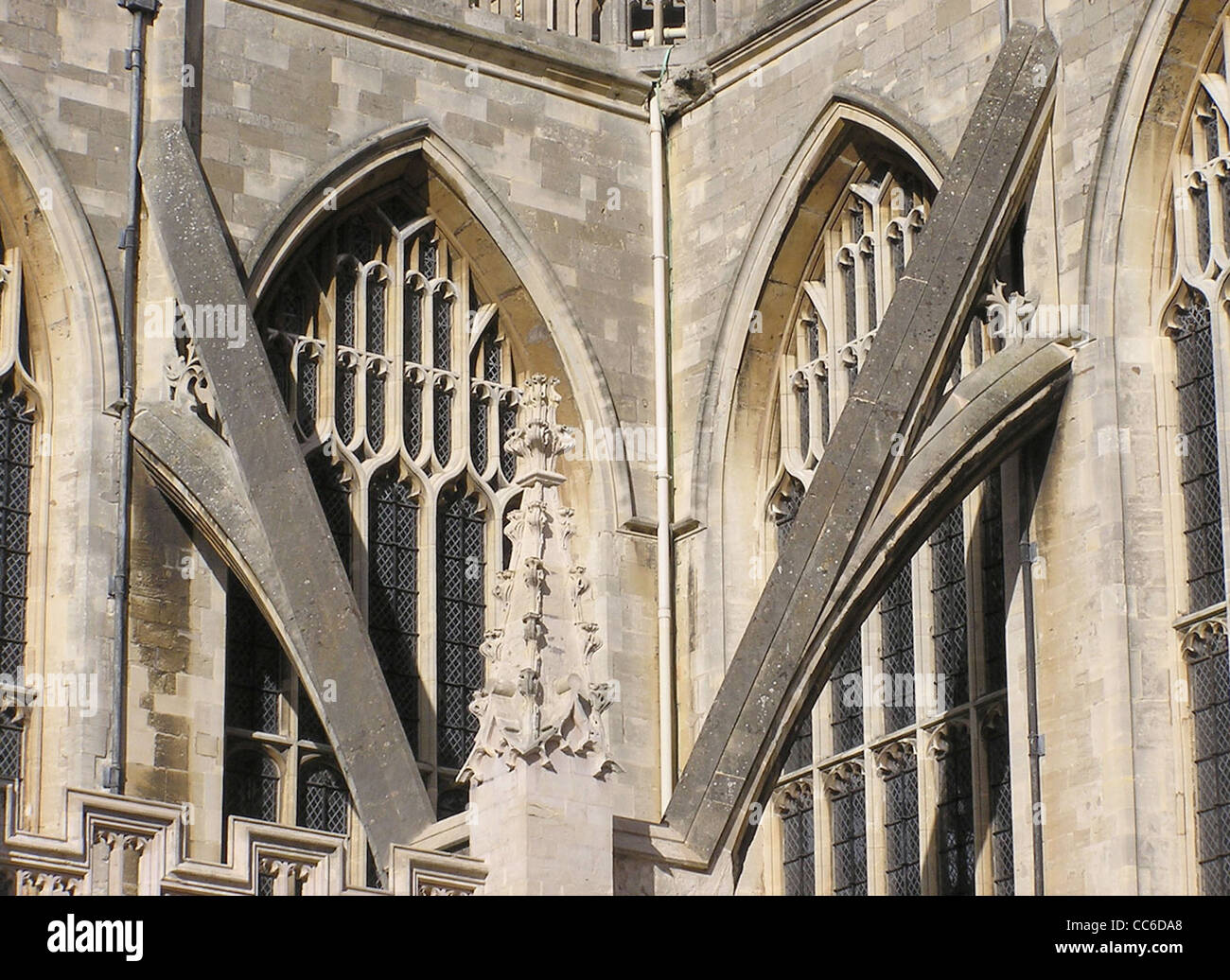 Close-up of two flying buttresses at Bath Abbey, Bath, England. Stock Photo