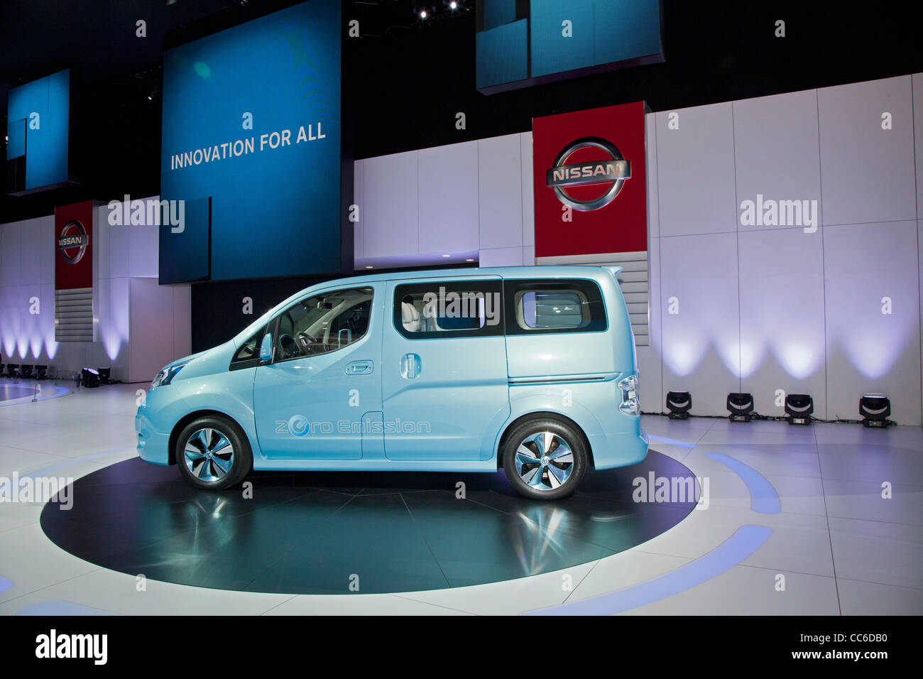 Detroit, Michigan - The Nissan E-NV 200 concept electric van on display at the North American International Auto - Stock Image