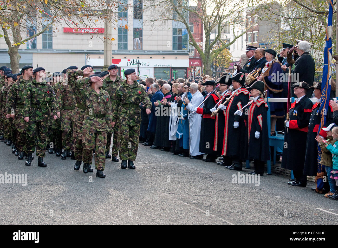 Territorial Army soldiers marching past the Mayor of Preston and civic party after the city's 2011 Remembrance - Stock Image