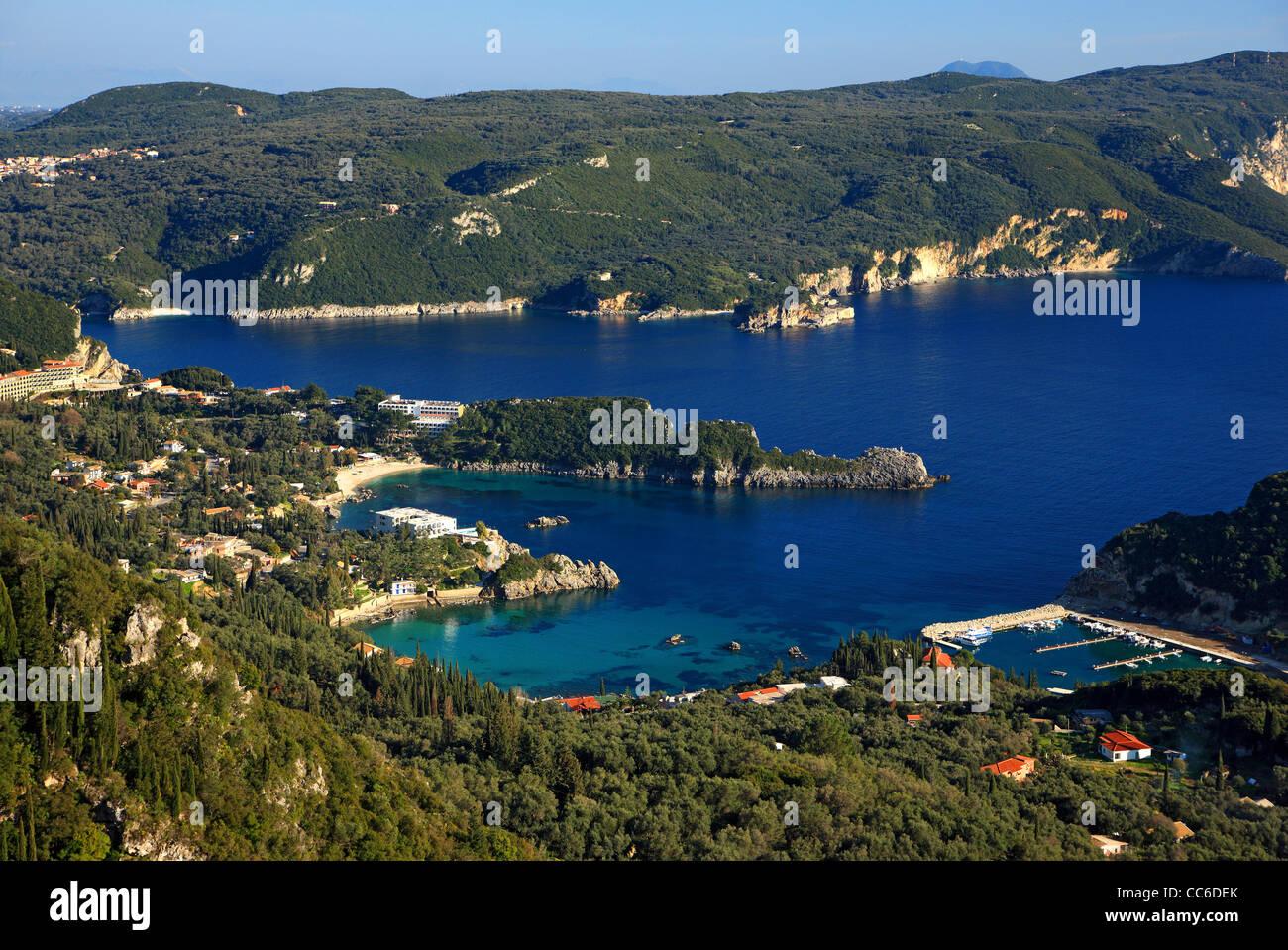 Some of the small bays in Paleokastritsa, famous tourist resort in Corfu (Kerkyra) island, Ionian sea, Greece Stock Photo