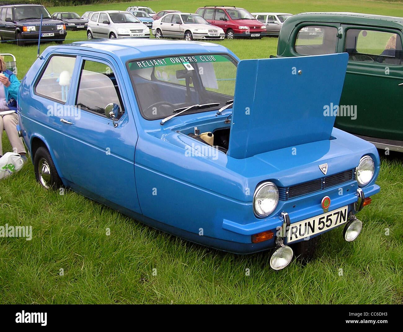 1974 Reliant Robin at Bristol Car Show, The Downs, Bristol, England. - Stock Image