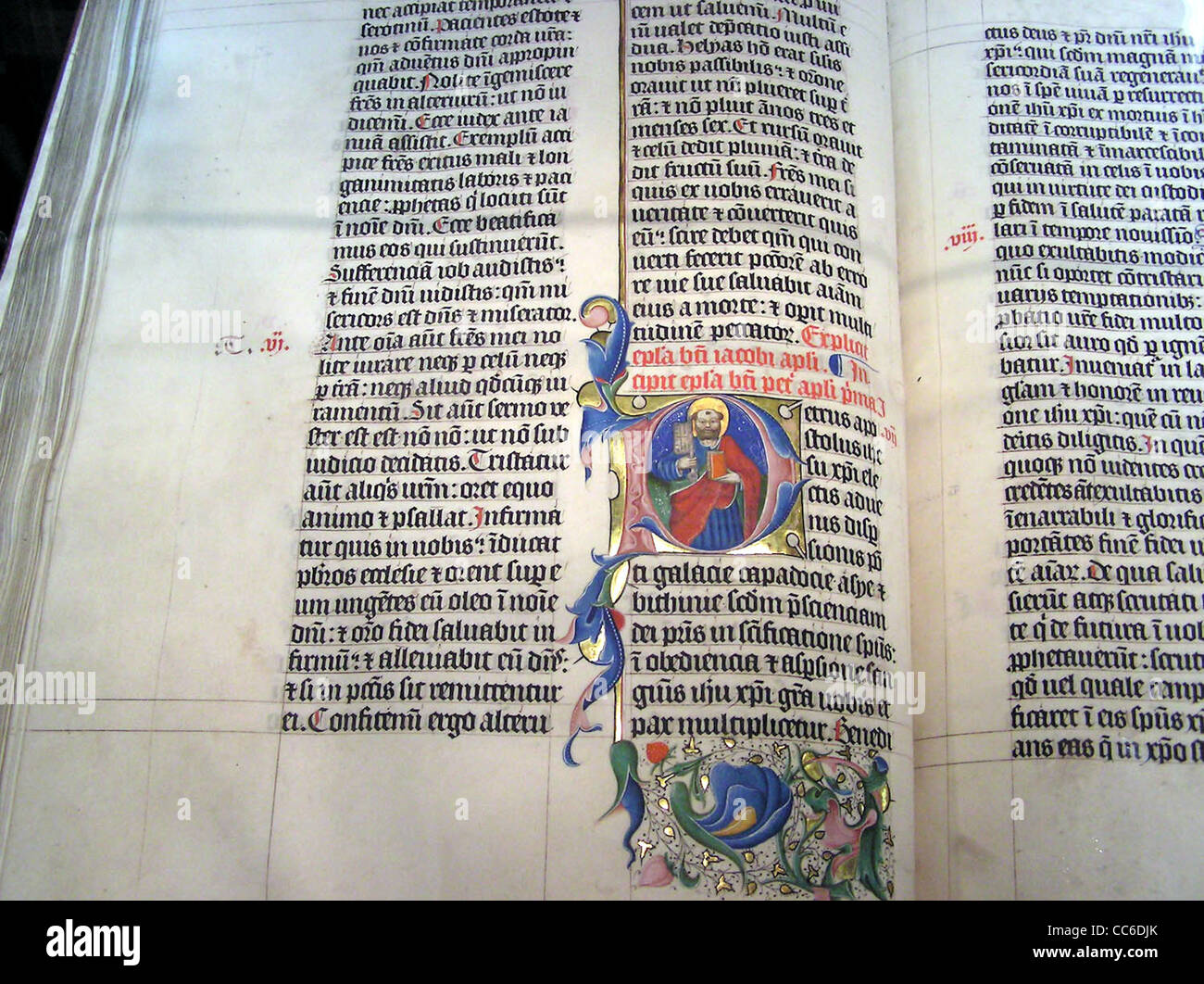 Illuminated lettering in a Latin Bible of 1407AD on display in Malmesbury Abbey, - Stock Image