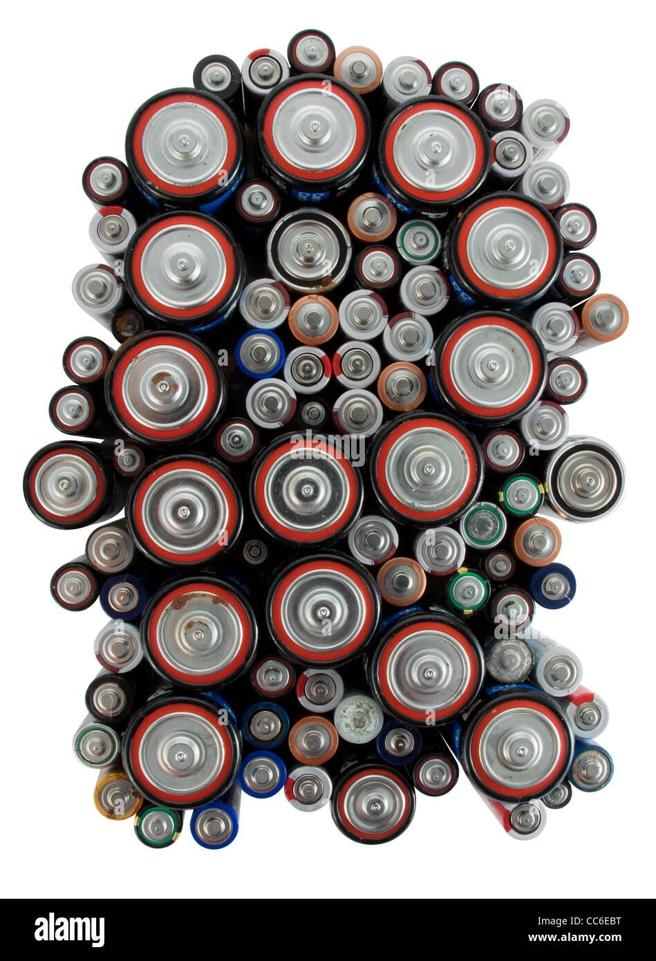 Letter R made from used different type and size batteries - Stock Image