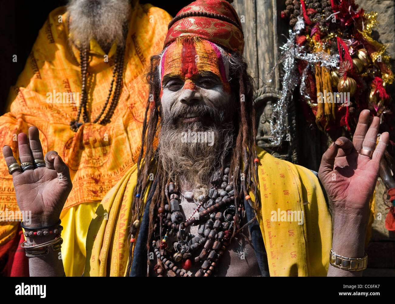 Colorful Sadhus in Pashupatinath temple in Nepal. - Stock Image