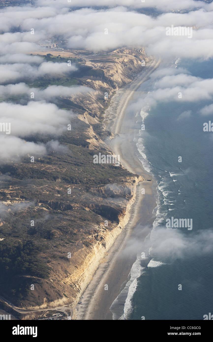 TORREY PINES CLIFFS (aerial view). Cliffs shrouded in the summer fog. Near San Diego, California, USA. - Stock Image