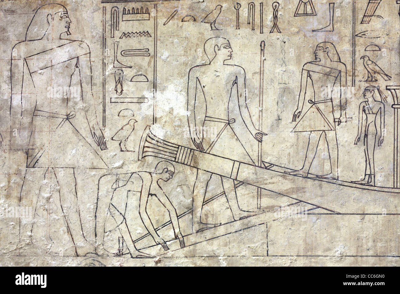Line drawings in the  Old Kingdom tomb of Ni Ankh Pepy Kem at Meir , North West of Asyut in Middle Egypt - Stock Image