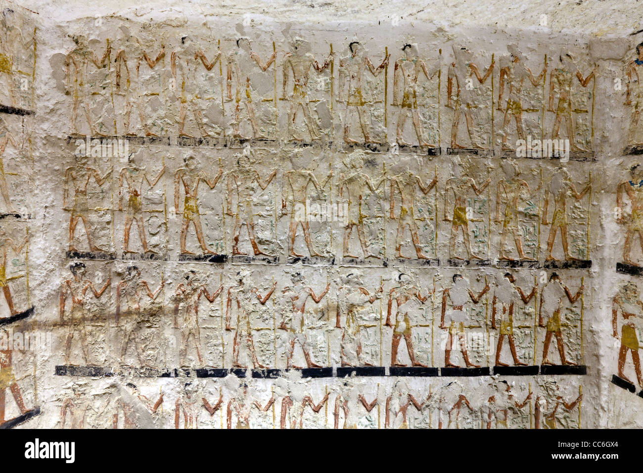 Reliefs in the Old Kingdom tomb of Ni Ankh Pepy Kem at Meir , North West of Asyut in Middle Egypt - Stock Image