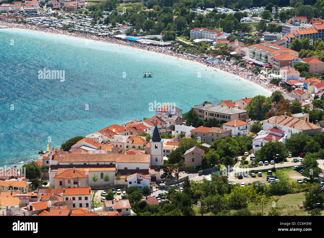 the city Baska on island Krk - Croatia - Stock Image