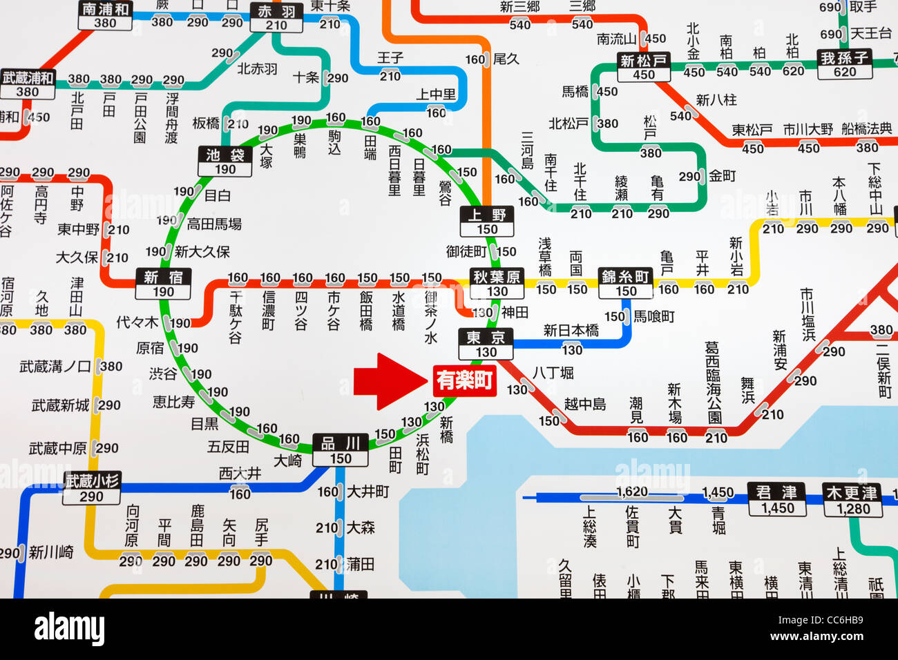Tokyo Jr Map Japan, Tokyo, Tokyo JR (Japan Railways) Train System Map Stock